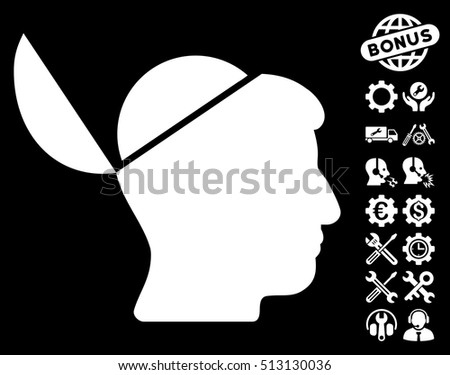 Open Brain pictograph with bonus service design elements. Vector illustration style is flat iconic white symbols on black background.
