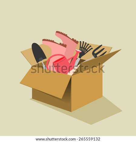 Open brown cardboard box filled with garden tools including gumboots, trowel, fork, watering can and rake conceptual of spring and summer, vector illustration on a neutral beige background - stock vector