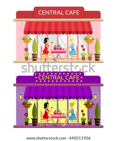 Open cafe building facade with outdoor street chair seats and table. Two girls drinking coffee outside. Flat style vector illustration isolated on white background. Day and evening composition. - stock vector
