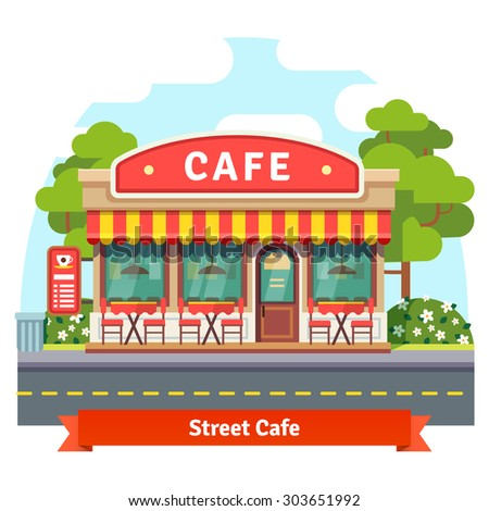 Open cafe building facade with outdoor street chair seats and tables. Flat style vector illustration isolated on white background. - stock vector