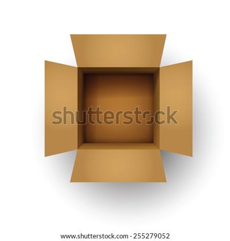 Open card board brown box - stock vector