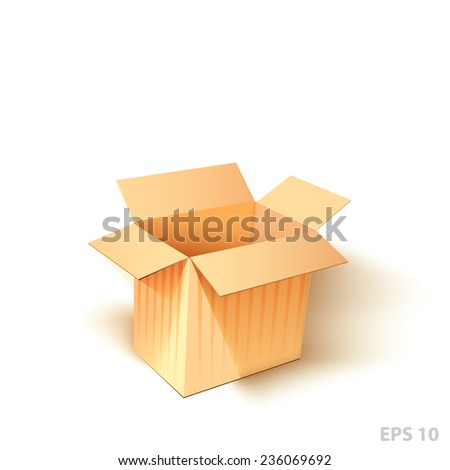 Open cardboard box with a realistic shadow on white background. - stock vector