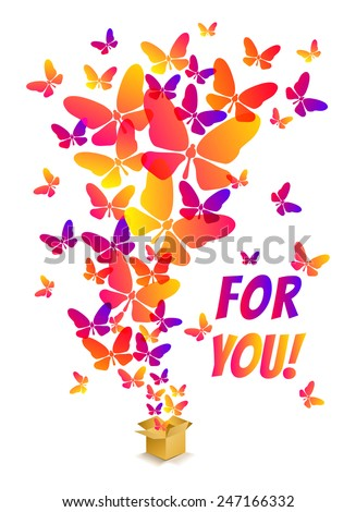 Open cardboard box with colorful butterflies flying - stock vector