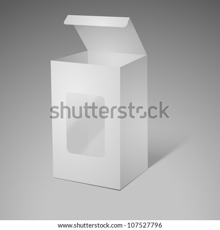 Open cardboard box with transparent plastic window - stock vector