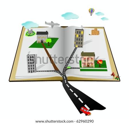 Open Cartoon Pop Up vector book with scenes, people, buildings,vehicles - stock vector