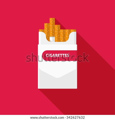 Open cigarettes pack box flat style white vector illustration isolated on red background - stock vector