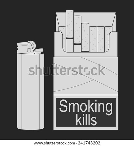 Open cigarettes pack with disposable gas lighter. Chalk vector clip art illustration isolated on white - stock vector