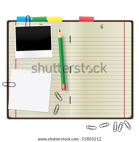 Open copybook with a green pencil, photograph and paper clips. - stock vector