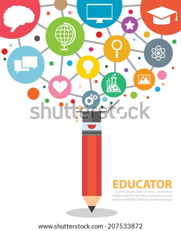 Open creative pencil with icons of education. Vector illustration. Modern educator concept - stock vector