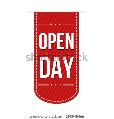 Open Day banner design over a white background, vector illustration - stock vector