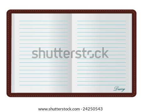Open Diary (JPG and Vector versions of this file both available in my portfolio) - stock vector