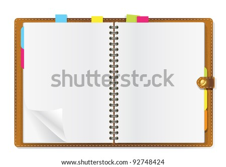 open diary on white background - stock vector