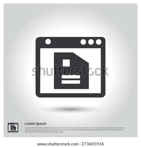 Open document in application Icon vector illustration, pictogram icon on gray background. Flat design style - stock vector