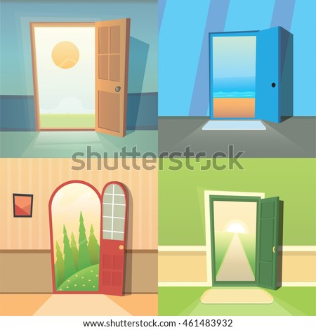 Open Door Cartoon Vector Collection Set Stock Vector Royalty Free