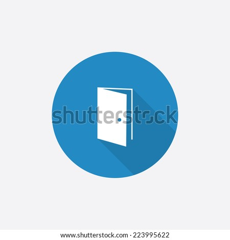 open door Flat Blue Simple Icon with long shadow, isolated on white background   - stock vector