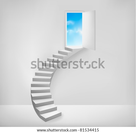 Open door to a dreamy place. Vector illustration. - stock vector