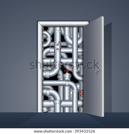 Open Door to Boiler Room. Ready for Your Text and Design. - stock vector