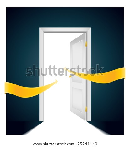 open door with bright arrows pointing direction to the light - stock vector