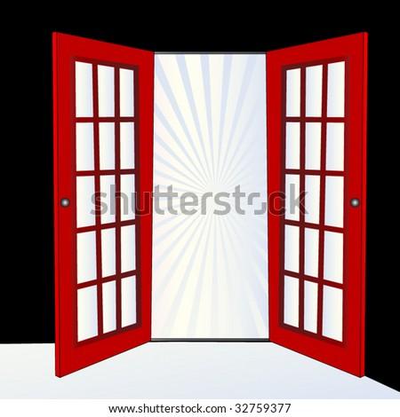 open door with burst - stock vector