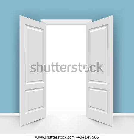 Open Doors With Gradient Mesh, Vector Illustration - stock vector
