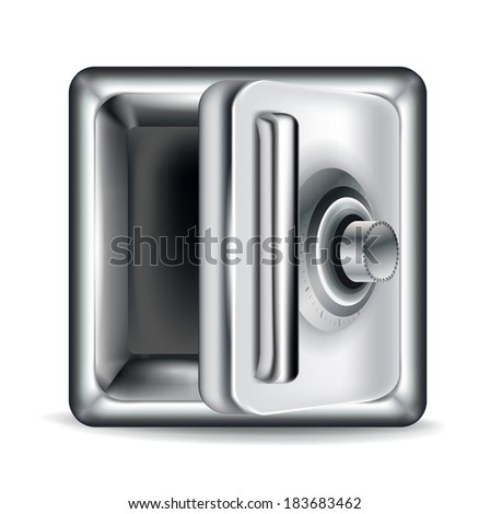 open empty metal safe isolated on white background - stock vector