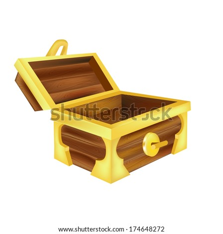 open empty treasure chest isolated on white