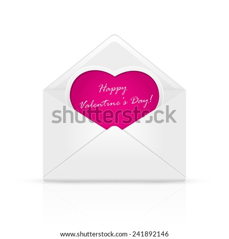 Open envelope mail with Valentines congratulation on pink heart, illustration. - stock vector