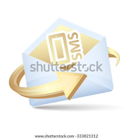 Open envelope with arrow and send sms concept. Vector illustration.