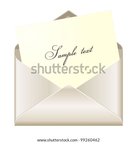 Open envelope with card - stock vector