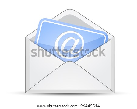Open envelope with card and e-mail sign - stock vector
