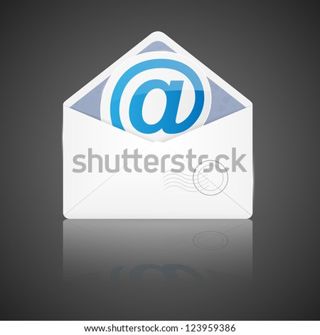 Open envelope with email. Vector illustration. - stock vector