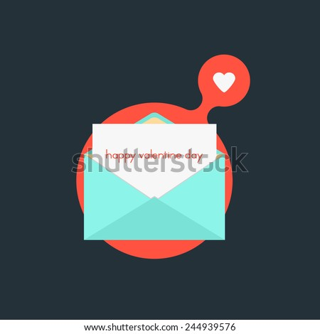 open envelope with happy valentine day on red bubble. concept of billet-doux, marriage, love affair, school love and romantic penpals. flat style trendy modern logo design vector illustration - stock vector