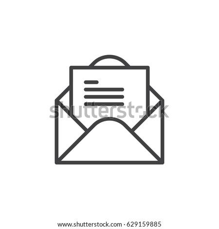 Open Envelope Letter Line Icon Outline Stock Vector ...