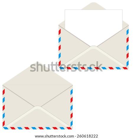 Open envelope with letter. Vector illustration. Element for design. - stock vector
