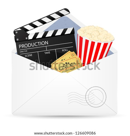 Open envelope with movie clapper board, popcorn and admit one ticket. Vector illustration.