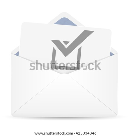 Open envelope with vote. Vector illustration. - stock vector