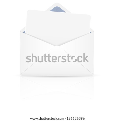 Open envelope with white paper. Vector illustration. - stock vector