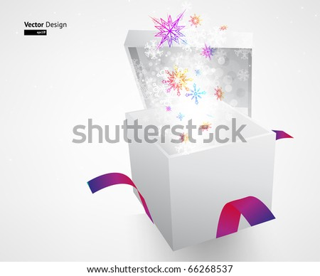 Open explore gift with fly snowflakes vector background - stock vector