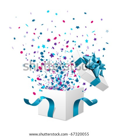 Open explore gift with fly stars vector - stock vector