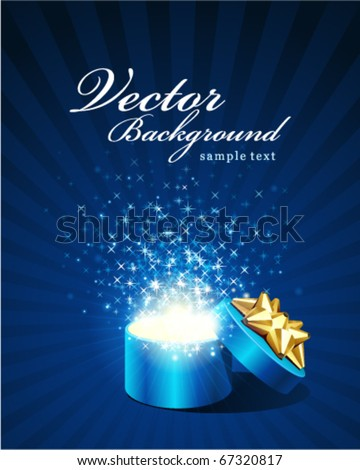 Open explore gift with fly stars vector background - stock vector