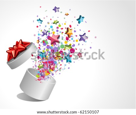 Open explore gift with fly stars vector background. Eps 10 - stock vector