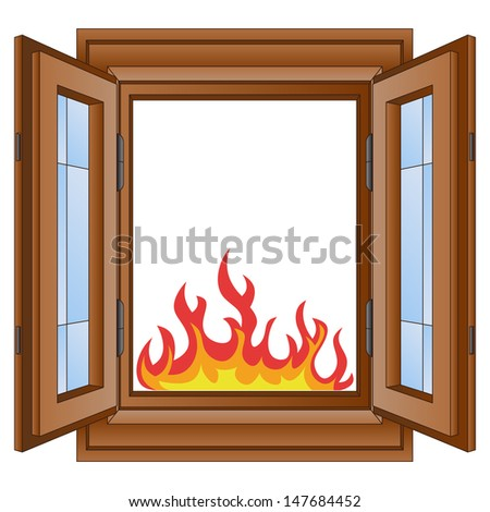 Open Fire Flames Window Wooded Frame Stock Vector 147684452 ...