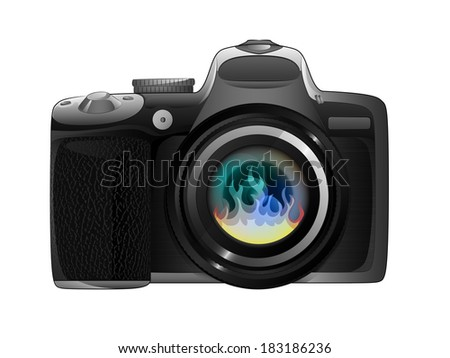 open fire in camera focus ready to snapshot isolated vector illustration