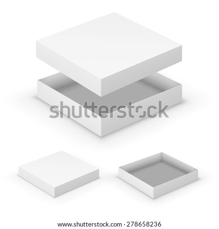 Open flat boxes design collection. White object on white background, vector illustration - stock vector