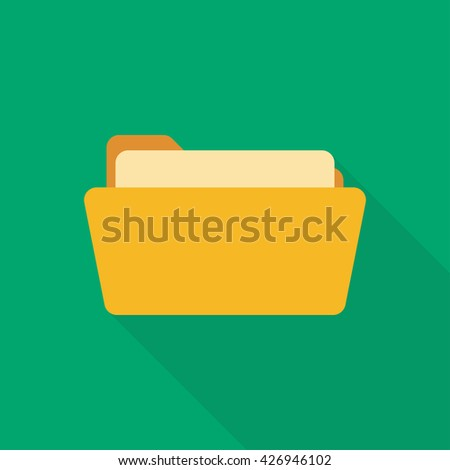 Open folder. Folder with documents. Yellow folder isolated on green background. Icon with long shadow - stock vector