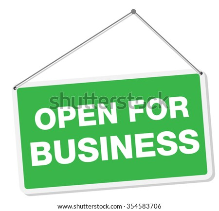 Open For Business Sign Tag - stock vector