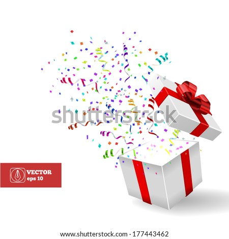 Open Gift and Confetti. Christmas Vector Background - stock vector