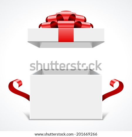 Open gift box and with red bow and ribbon vector template isolated on white background  - stock vector