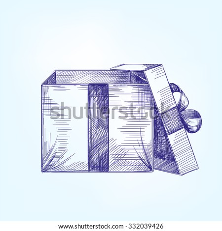 open gift box  hand drawn vector llustration  realistic  sketch - stock vector