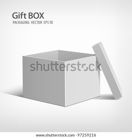 Open gift box packaging, vector illustration